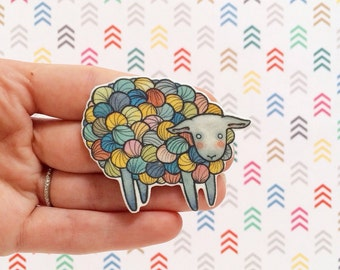 Yarn Sheep Brooch Lamb brooch - lamb pin- knitting jewelry - lamb jewelry-  multicolored sheep - grey sheep -Unique Boutonnière