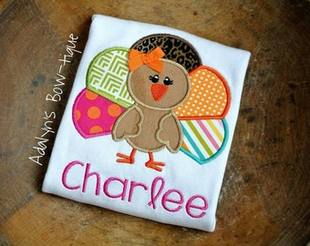 Girly turkey fall thanksgiving personalized embroidered applique girls shirt , baby onesie, infant gown or bib