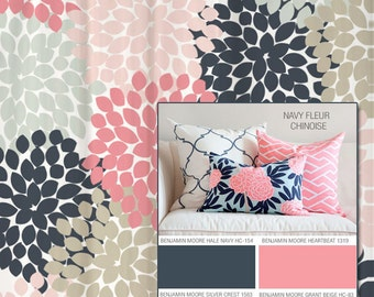 navy coral shower curtain. Shower Curtain in Navy and Pink Floral Standard Extra Long Lengths 70  74 Coral Aqua Gray