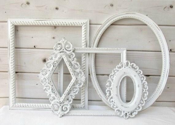 White frame set vintage antique ornate wedding decor large - Large white picture frames ...
