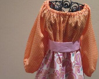 Orange Delight Girls Peasant Dress - On sale