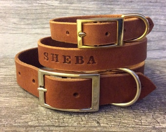 Personalized Brown Leather Dog Collar with FREE Name