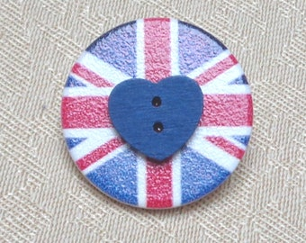 Union Jack Button Brooch Badge