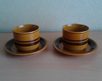 1970's Honey and Mustard Cup and Saucer Set Kiln Craft