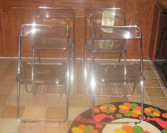 Clear Lucite Italian folding chairs