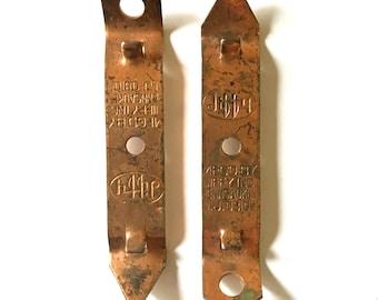 Vintage brass copper metal barware bottle opener barware bar cart rare rustic home decor collectible jiffy brand