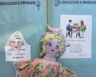 Sweet Vintage Hand Crafted Doll, 1926 Child Scrapbook, Memorabilia, Sandusky Ohio, charming, still life, decor