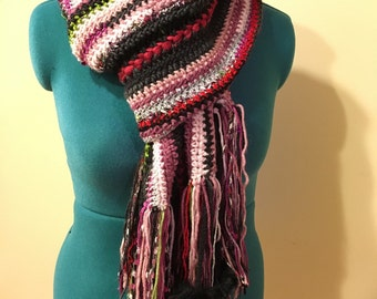 Freeform Sequin, Sparkles, and Chenille Crochet Scarf-Black, Silver, Pink, and Red-Faux Fur Puffs-One of A Kind