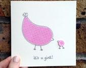 ON SALE It's a Girl Baby Congratulations Handmade Greeting Card Baby Bird Irish Design Free Shipping