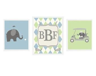 Elephant Golf Nursery, Golf Wall Art, Elephant Prints, Monogram, Personalized Wall Art, Argyle Print, Blue Green Gray, Baby Boy Golf, Gift