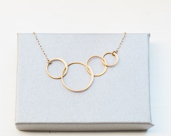 Circle LINK Infinity Generation Necklace, 14k Gold Fill or Sterling Silver, 4 Linked Rings Dainty delicate 4 Circle Mom 3 daughters sons