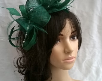Emerald green Sinamay and Feather Rosette Fascinator with Leaves,loops, Feathers and crystal stamens