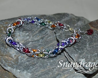 Rainbow Byzantine Chain Maille Bracelet, approx 7'' with lobster clasp and crystal dangle