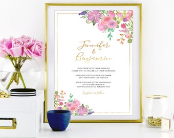 """WEDDING Floral INVITATION Stationery Set with REAL Gold Foil Printing - 5"""" x 7"""" - Vintage Shabby Chic"""