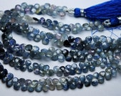 8 Inch Strand,Finest Quality,NATURAL Shaded Blue Sapphire Faceted Heart Shape Briolettes,4-5mm aprx