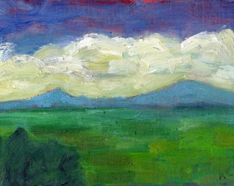 Colorful original small oil painting landscape plein air alla prima New England mountains cloud blue sky blue green vista