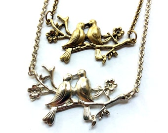 kissing lovebirds necklace, birds on a branch charm