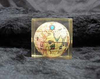 Vintage Lucite Paperweight with Globe
