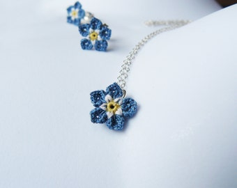Crochet Forget-Me-Not Pendant, Sterling Silver, Blue Flower Lace Pendant, Forget Me Not Necklace, Floral Wedding, Bridesmaid, Flower Girl