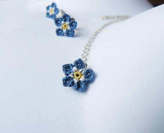Crochet forget me not pendant sterling silver blue flower like this item aloadofball Gallery