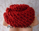 PDF KNITTING PATTERN tutorial for chunky infinity scarf, neckwarmer, wrap, snood, easy knit, accessory for autumn, winter,bulky yarn