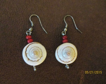 Vintage Real Snail Shell Dangle Earrings