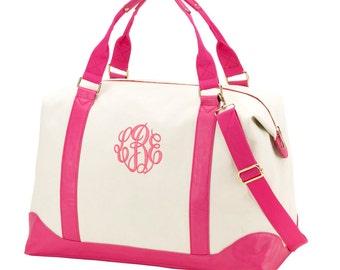 Pink and White Sullivan Weekender Bag