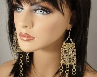 Mesh Golden Dangle Earrings