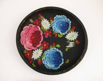 Dynamic Color - A Painted Wood Bowl With Hand-painted Brightly Colored Flowers - Two Bright Blue Flowers - Wall Art - Made in Mexico