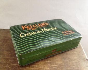 Vintage James Keiller & Son tin box Green Confectionary Tin candy box  Retro Kitchen decor made in Scotland