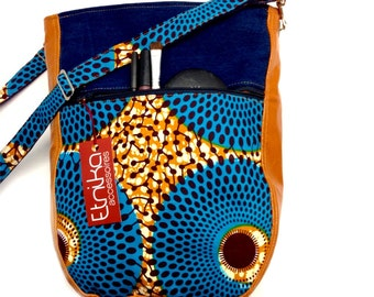 African print messager bag, Leather crossbody bag, etnika accessoires, leather shoulder bags, denim tote bag, bags and purses, women gift