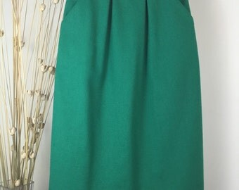 1970's Vintage Grass Green Wool Skirt Size XS