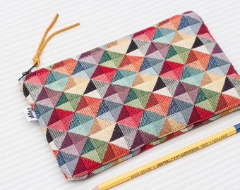 Geometrical Pencil Case, Gift for Him, Triangle Pencil Pouch, Abstract Zipper Bag, College Supplies, Mens Bag, School Supplies