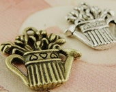 15pcs Kettle with flowers Charms Vintage Alloy Charm Pendants Jewelry Findings Supplies