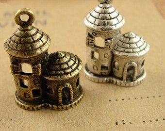 15pcs Fairy Tale Castle Charms Vintage Alloy House Charm Pendants Jewelry Findings Supplies