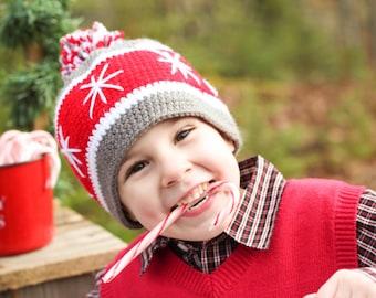 Christmas Hat/ Snowflake Hat/ Pom pom hat/ Crocheted Christmas Hat/ Kids Christmas Hat/ Winter Hats / Christmas Photo hat/ Crocheted hat