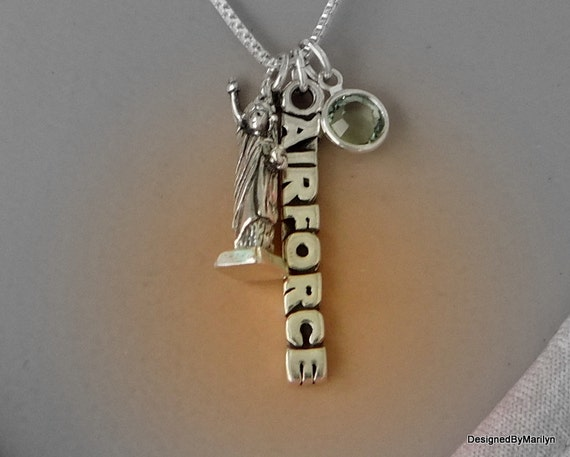 Sterling silver Air Force necklace, military jewelry, Statue of Liberty necklace, proud mom necklace, girlfriend jewelry, wife jewelry
