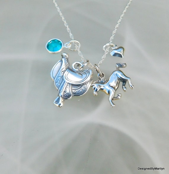 Saddle necklace, cowgirl jewelry, pony necklace,  sterling silver, western necklace, cowgirl up