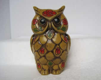 Owl Coin Bank Vintage Bank Red Flowers Green Leaves