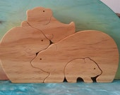 Bear Family Natural Wooden Puzzle Waldorf