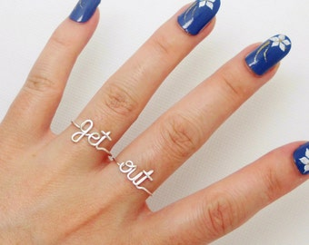 Get out Ring-- Adjustable Wire Ring set of 2 unusual rings--Custom ring--Name ring-- Word ring--Cool,Funny, Geeky Gift-Begone,Go to hell.