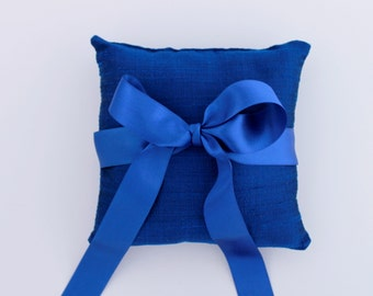 Ring Bearer Pillow. Royal Blue Silk Ring Pillow. Wedding Ring Pillow. Military Wedding Ring Pillow. Royal Blue Silk Dupion and Big Satin Bow
