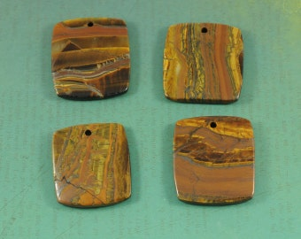 Large Drilled Tiger Iron Pendant - Rectangle - Large Natural Golden Brown Gemstone