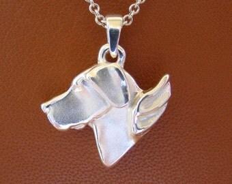 Small Sterling Silver Great Dane Angel Pendant ( un cropped) Ears