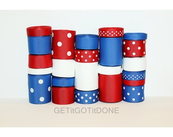 4th of July Grosgrain Ribbon Lot (Choose 1 or 2 yards EACH of 23 different ribbons: 1/4, 3/8, 5/8, 7/8 and 1.5 Inch Solids and Dots)