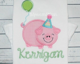 Birthday Pig Bodysuit, Tee, or Tshirt, Personalized Pig and Balloon Applique, Birthday Applique Shirt