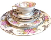 Rosenthal China Dish Set With 5 Place Settings Orchids and Gold Scroll Trim, Vintage Bone China Set Winifred Germany