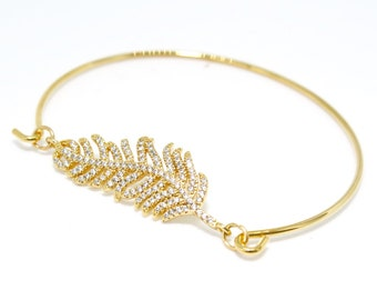 Feather Bracelet Feather Bangle Gold Feather Bangle Gold Feather Bracelet Gold Bangle Gold Bridesmaid Gift