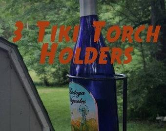 3 Wine Bottle Tiki Torch, Blacksmith made, Holder only