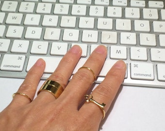 Gold Key Ring, Gold Ring, Stack Ring, Thin Gold Ring